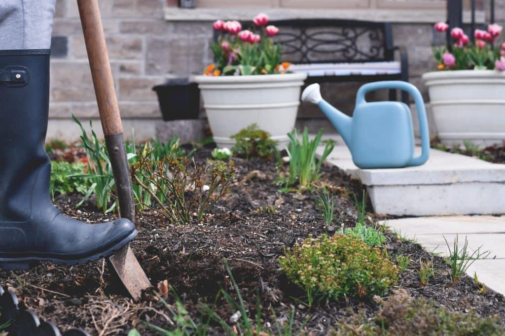 femme en bottes de caoutchouc creuse un trou pour planter une oya